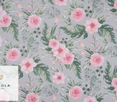Cotton woven fabric – roses on grey