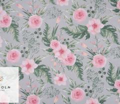 Tkanina bawełniana - róże na szarym