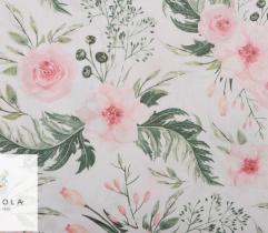Cotton woven fabric – roses on white