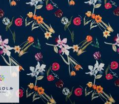 Woven Fabric Barbie - Tulips on Navy Blue