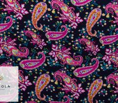 Woven Viscose Fabric – Pink Paisley on Navy Blue