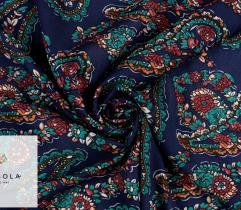 Woven Viscose Fabric - Paisley Navy Blue