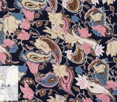 Tkanina Wiskoza - Kwiaty i Paisleye na Granacie