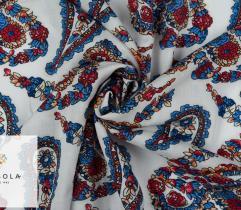 Woven Viscose Fabric - Paisley White