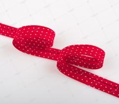 Lamówka bawełniana 15 mm - czerwona w białe kropki