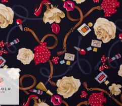 Knitted Fabric Oxford Akademik - Belts and Flowers Navy Blue