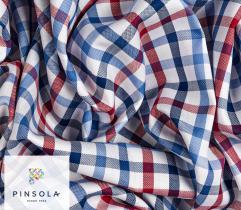 Woven Premium Fabric - White and Blue Check
