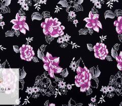 Knitted Fabric Akademik – Flowers on Black