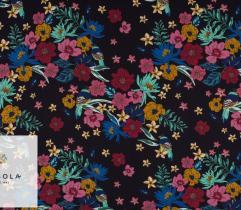 Tkanina Wiskoza - Kwiaty i Ptaki
