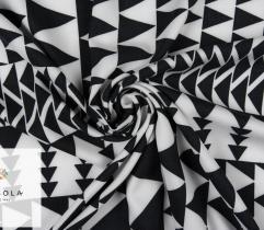 Tkanina Wiskoza - Czarno-białe Trójkąty