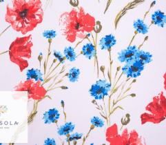 Cotton Woven Fabric – Poppies and Cornflowers
