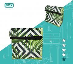 Lunchbag szkolny - liście i czarne wzory - wydruk wielkoformatowy i surowce