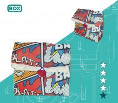 Wykrój lunchbag szkolny - komiks boom-bang - wydruk wielkoformatowy i surowce