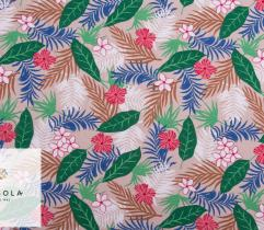 Woven Viscose Fabric - Beige Hibiscus
