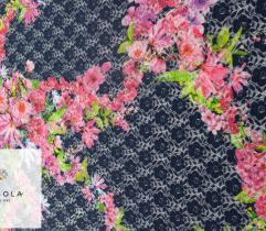 Koronka plen granat ażur kolorowe kwiaty