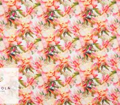 Tkanina Silki - Akwarelowe Kwiaty
