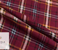 Woven Tartan Wool Fabric - Burgundy