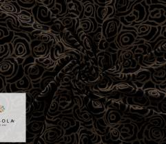 Dzianina Welur Bawełniany - Czarny w Brązowe Kwiaty