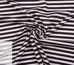 Dzianina Punto - Czarno-białe Pasy 1 cm