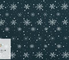 Dzianina Jersey Single - Śnieżynki na Granacie
