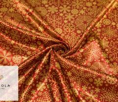 Woven Satin Fabric - Gold Snowflakes