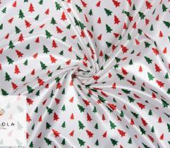Woven Satin Fabric - Christmas Trees