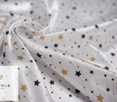 Woven Satin Fabric - Black and Gold Stars