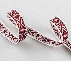 Tasiemka Etniczny Motyw - Biało-czerwona