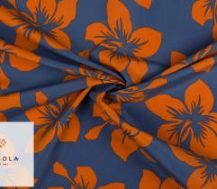 Tkanina Poliestrowa - Pomarańcz na Niebieskim