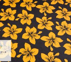 Tkanina Poliestrowa - Żółte Kwiaty na Czerni