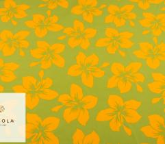 Tkanina Poliestrowa - Żółte kwiaty na Zieleni
