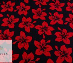 Tkanina Poliestrowa - Czerwone Kwiaty na Granacie