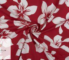 Tkanina Poliestrowa - Białe Kwiaty na Czerwieni