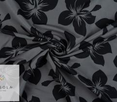 Tkanina Poliestrowa - Czarne Kwiaty na Szarym