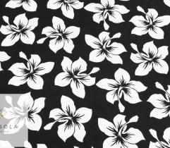 Tkanina Poliestrowa - Białe Kwiaty na Czerni