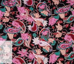 Tkanina Wiskoza - Kwiaty i Paisleye na Czerni