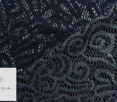 Koronka plen srebrno - niebieski połysk - panel 1m