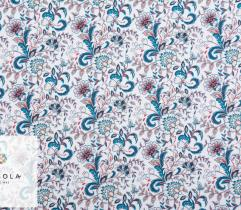 Tkanina Silki - Niebieski Ornament