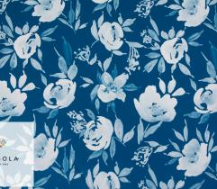 Woven Fabric Silki Classic Blue - Flowers