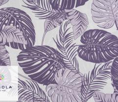Woven Cotton Fabric - Purple Leaves