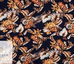Woven Viscose Fabric - Dark Blue Jungle