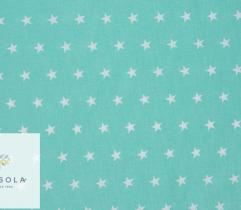 Woven Cotton Fabric - Mint Stars