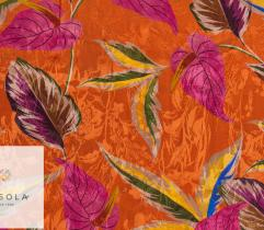 Woven Viscose Jacquard Fabric - Orange Leaves