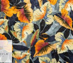 Woven Viscose Jacquard Fabric - Black Leaves