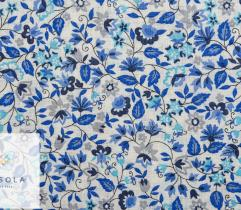 Woven Linen Fabric - Blue Flowers