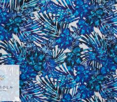 Woven Linen Fabric - Blue Leaves