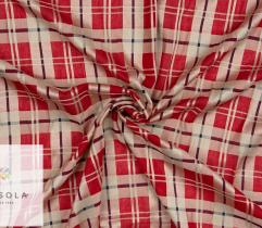 Woven Cotton Linen Fabric - Red Check