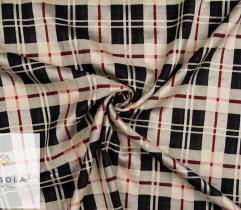 Woven Cotton Linen Fabric - Black Check