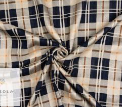 Woven Cotton Linen Fabric - Dark Blue Check