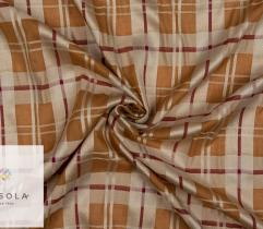 Woven Cotton Linen Fabric - Mustard Check
